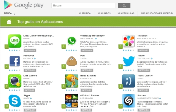 Line supera a WhatsApp en Google Play
